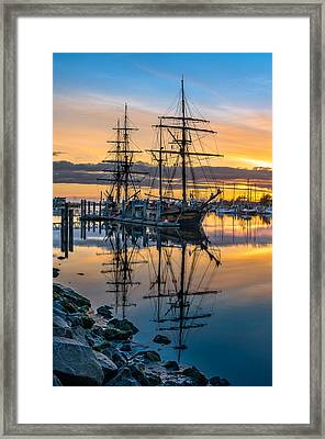 Reflectons On Sailing Ships Framed Print by Greg Nyquist