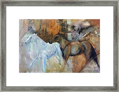Framed Print featuring the painting Reflextion Of The White Horse by Frances Marino