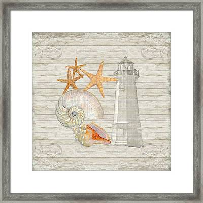 Refreshing Shores - Lighthouse Starfish Nautilus N Conch Over Driftwood Background Framed Print