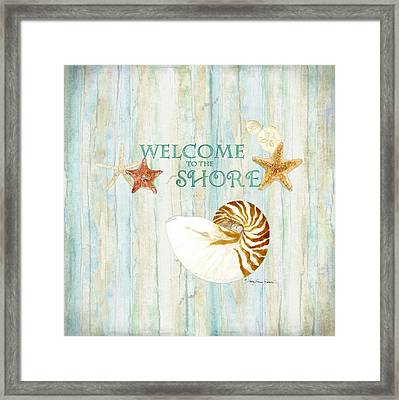 Refreshing Shores - Lighthouse Starfish Nautilus Sand Dollars Over Driftwood Background Framed Print