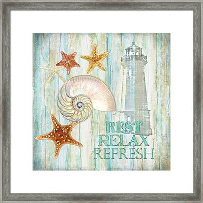 Refreshing Shores - Rest Relax Refresh Framed Print by Audrey Jeanne Roberts