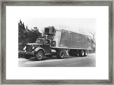 Refrigerated Semi Trailer Framed Print by Underwood Archives