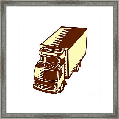 Refrigerated Truck Woodcut Framed Print by Aloysius Patrimonio