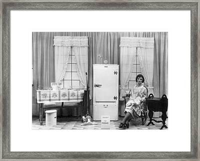 Refrigerator Window Display Framed Print by Underwood Archives