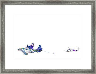 Refueling Watercolor On White Framed Print