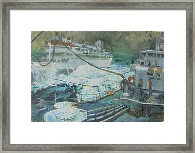 Framed Print featuring the painting Refuelling At Sea. by Mike Jeffries