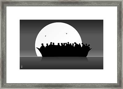 Refugees Boat Framed Print