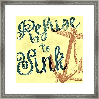 Refuse To Sink Yellow Framed Print by Brandi Fitzgerald