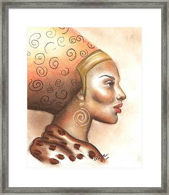 Framed Print featuring the pastel Regal Lady Profile by Alga Washington