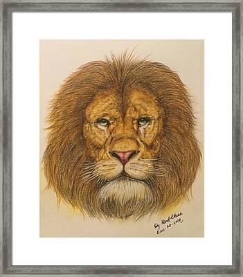 Regal Lion Hand-drawn Framed Print by Kent Chua