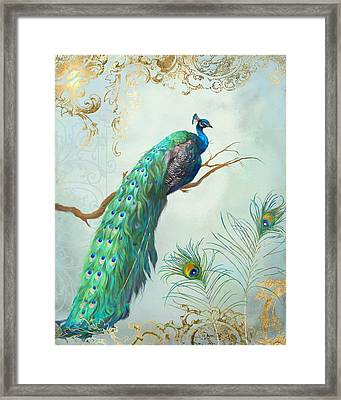 Regal Peacock 1 On Tree Branch W Feathers Gold Leaf Framed Print