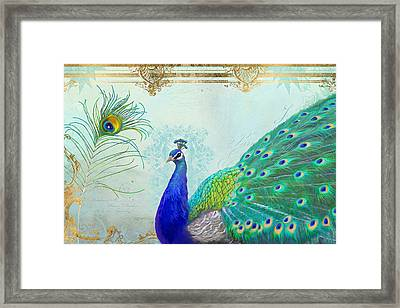 Regal Peacock 2 W Feather N Gold Leaf French Style Framed Print