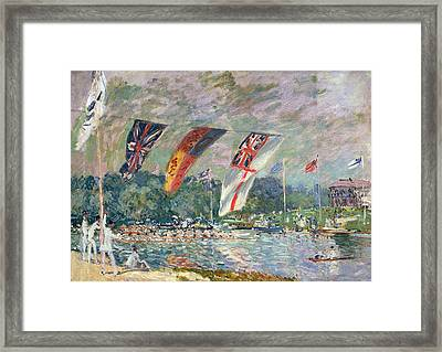 Regatta At Molesey Framed Print by Alfred Sisley