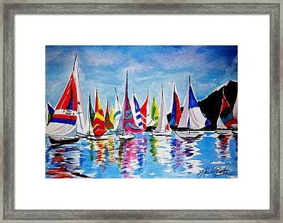 Regatta On Lake Almanor Framed Print by Therese Fowler-Bailey