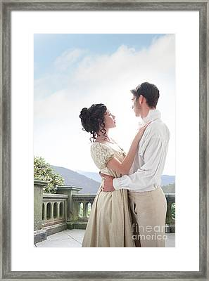 Framed Print featuring the photograph Regency Couple Embracing On The Terrace by Lee Avison