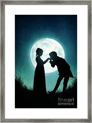 Regency Couple Silhouetted By The Full Moon Framed Print by Lee Avison