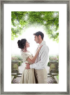 Regency Lovers In The Garden Framed Print by Lee Avison