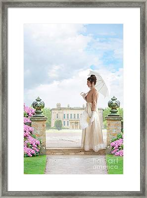 Regency Woman In The Grounds Of A Historic Mansion Framed Print