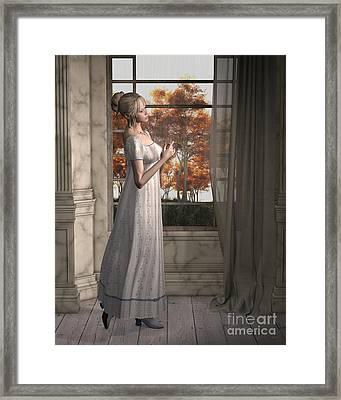 Regency Woman Or Jane Austen Character, Standing By A Window Framed Print