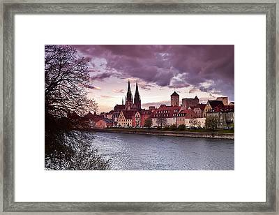 Regensburg Old Town From Stadtamhof Framed Print by Giuseppe Maria Galasso