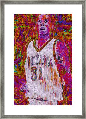 Reggie Miller Nba Basketball Indiana Pacers Painted Digitally Framed Print by David Haskett