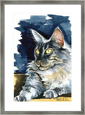 Regina - Maine Coon Painting Framed Print