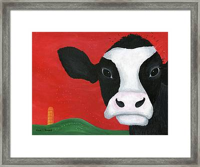 Regina The Happy Cow Framed Print by Kristi L Randall