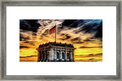 Reichstag At Sunset Framed Print