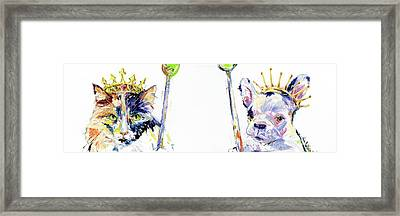 Reigning Cats And Dogs Painting By Kim Guthrie  Framed Print