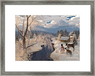 Reindeer And The Snowman Framed Print