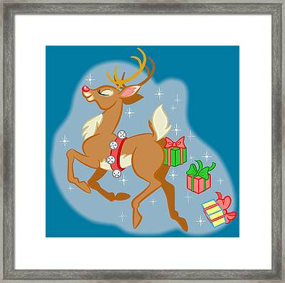 Framed Print featuring the digital art Reindeer Gifts by J L Meadows