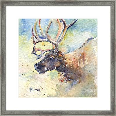 Reindeer In The Snow Framed Print by Maria's Watercolor