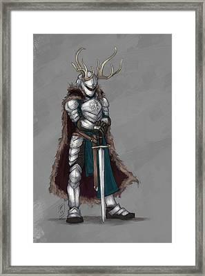 Reindeer Knight Framed Print by Brandy Woods