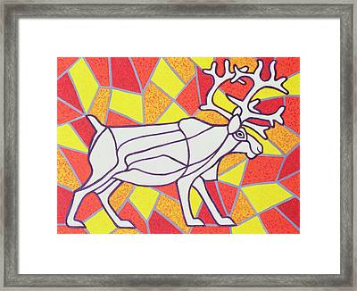Reindeer On Stained Glass  Framed Print by Pat Scott