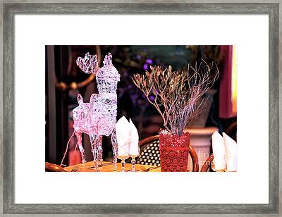 Reindeer On The Table Framed Print