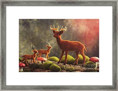 Reindeer Scene Framed Print