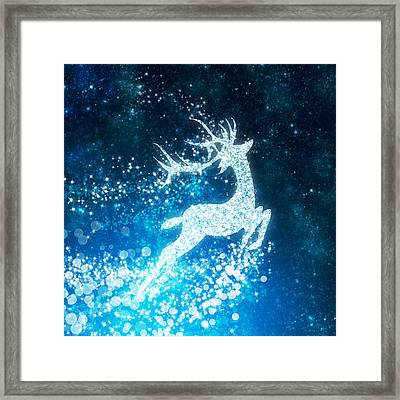 Reindeer Stars Framed Print by Setsiri Silapasuwanchai
