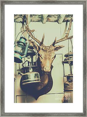 Reindeer With Old Lanterns Hanging On Horns Framed Print by Jorgo Photography - Wall Art Gallery