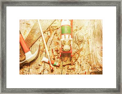 Reindeer With Tools And Wood Shavings Framed Print by Jorgo Photography - Wall Art Gallery