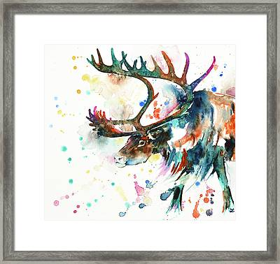 Framed Print featuring the painting Reindeer by Zaira Dzhaubaeva