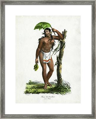 Framed Print featuring the drawing Reine De Carolines Queen Of The Carolines On Tinian by Jacques Arago