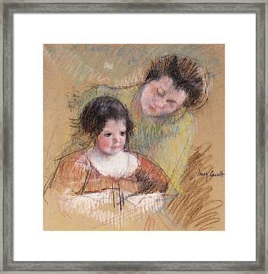 Reine Leaning Over Margot's Shoulder Framed Print by Mary Stevenson Cassatt