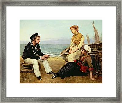 Relating His Adventures Framed Print