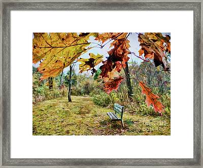Framed Print featuring the photograph Relax And Watch The Leaves Turn by Kerri Farley