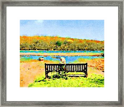 Framed Print featuring the painting Relax Down By The River by Angela Treat Lyon