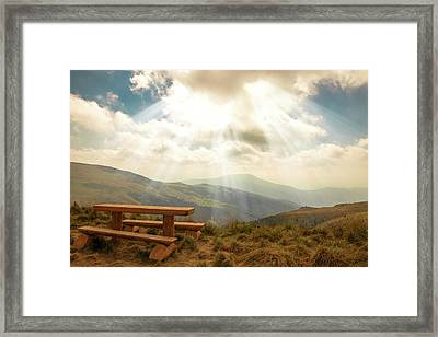 relax on a mountain top by Iuliia Malivanchuk Framed Print by Iuliia Malivanchuk