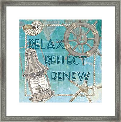 Relax Reflect Renew Framed Print by Debbie DeWitt