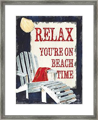 Relax You're On Beach Time Framed Print by Debbie DeWitt