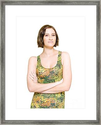 Relaxed Woman In Spring Dress Framed Print