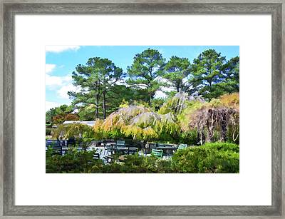 Relaxing Ambiance Outdoor Space At The Norfolk Botanical Garden Cafe 1 Framed Print